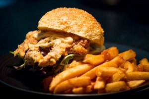 Soft-Shell Crab Burger and Chips